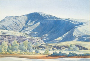 Albert Namatjira Mt Hermannsburg Finke River c.1946-51 watercolour over pencil on paper National Gallery of Australia