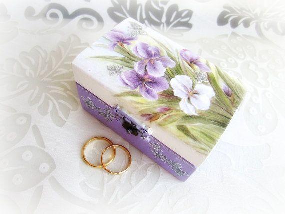 Ring bearer box wedding ring box floral box iris by GattyGatty