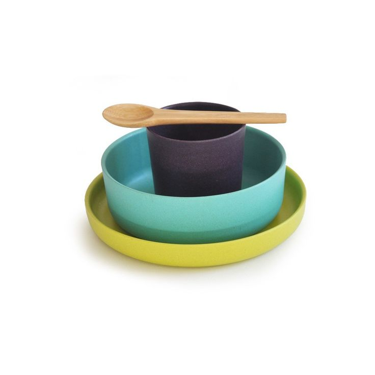 Biobu Bambino child set--as resistant as plastic or melamine, suitable for hot + cold foods + liquids. Made of bamboo fibres, natural bamboo, + other natural, plant materials (No BPA, phtalates, lead or organic tin compounds, No PVC)