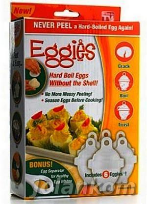 EGGIES POJEMNIK DO GOTOWANIA JAJEK BEZ SKORUPEK + SEPARATOR znane na całym świecie. Eggies to rozkręcane pojemniczki do gotowania jajek bez skorupek, po prostu wbij jajko do pojemnika i gotuj w wodzie, w garnku  na kuchence, po paru minutach rozkręć pojemniczek, by otworzyć i podać idealne jajka  Możesz od razu dodać przyprawy albo drobne kolorowe dodatki wtedy jajko będzie wyglądać i smakować fantazyjnie.