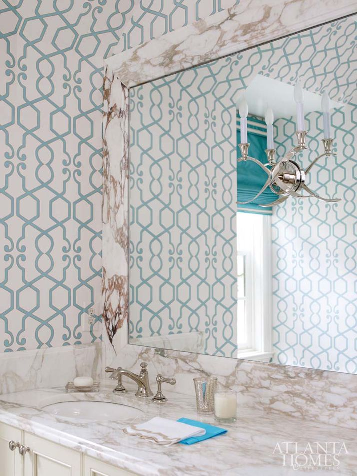 Bathroom With Turquoise Wallpaper | Huff Dewberry