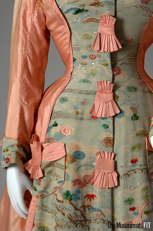 Tea gown Pink silk taffeta and embroidered crepe Date: c.1870 This dress was made from authentic kimono fabric imported to America from Japan.