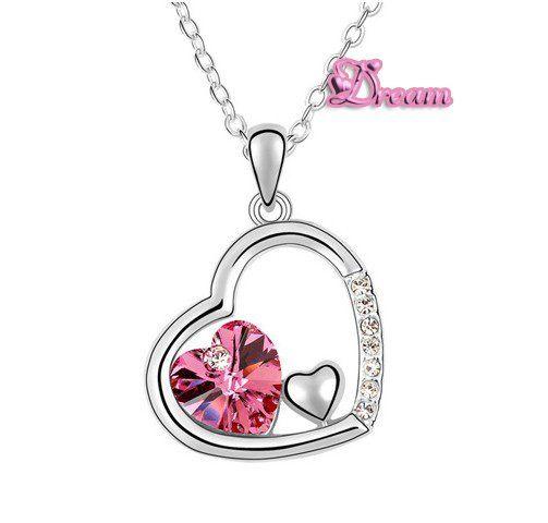 Spedizione gratuita sacchetto del regalo, ingrosso classica cristallo collana pendente cuore abito da sposa/partito regalo/monili di cristallo set, no. 5903q