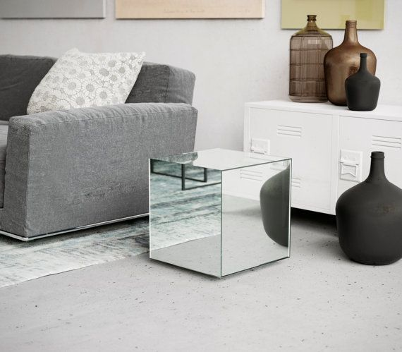 mirrored cube coffee table midcentury inspired table all glass table that echoes the. Black Bedroom Furniture Sets. Home Design Ideas