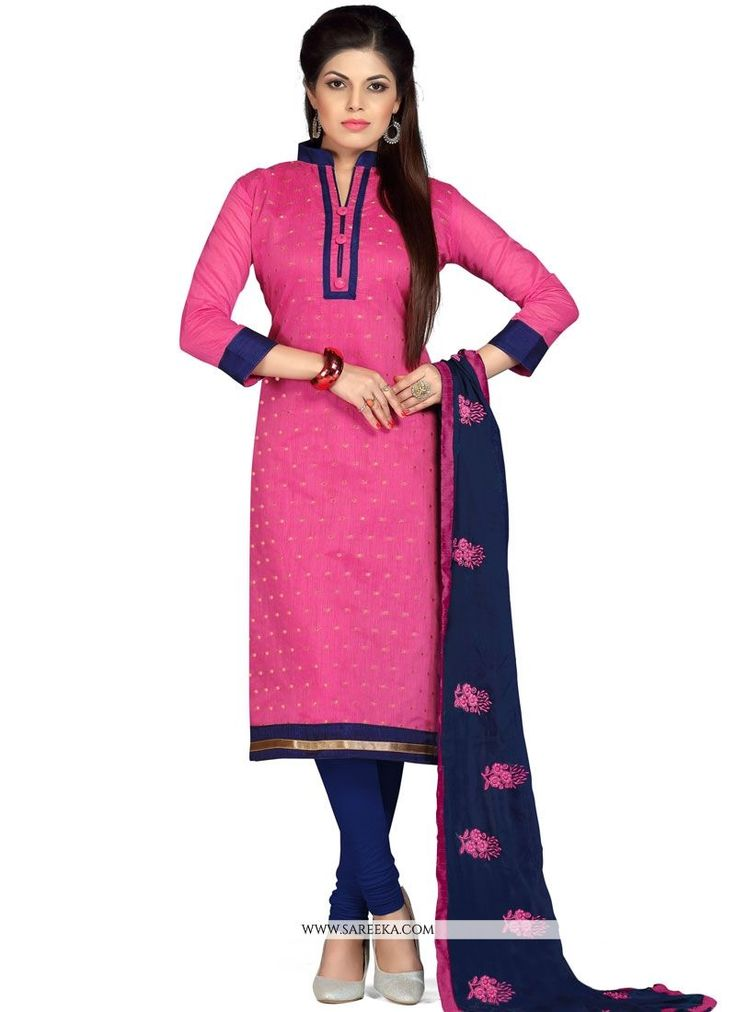 Appear stunningly gorgeous with this pink chanderi churidar suit. This attire is beautifully adorned with lace work. Comes with matching bottom and dupatta. (Slight variation in color, fabric & work i...