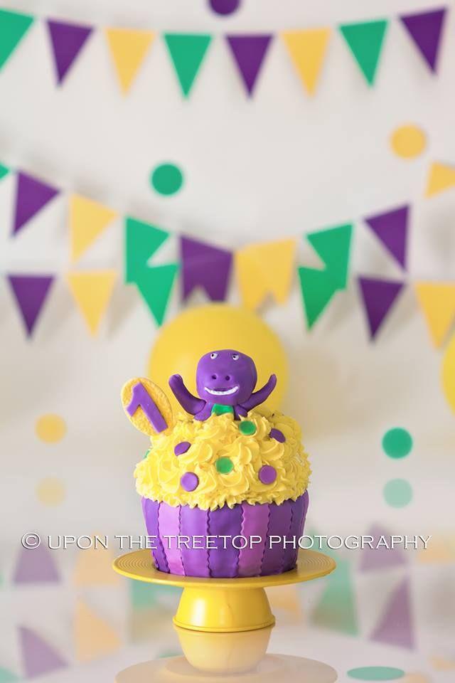 Barney themed smash cake