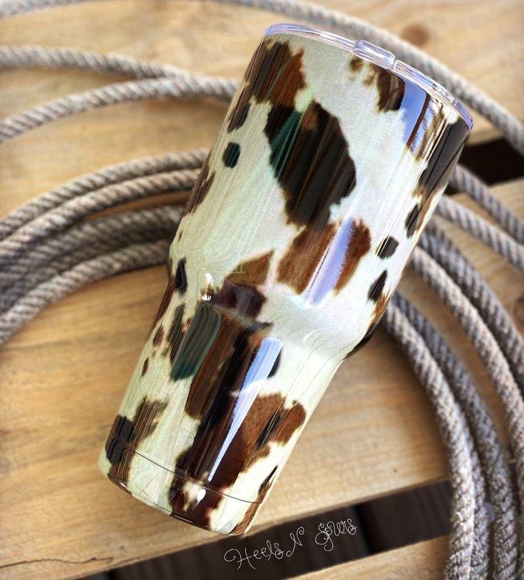 Cowprint tumbler yeti cup designs cow print tumbler
