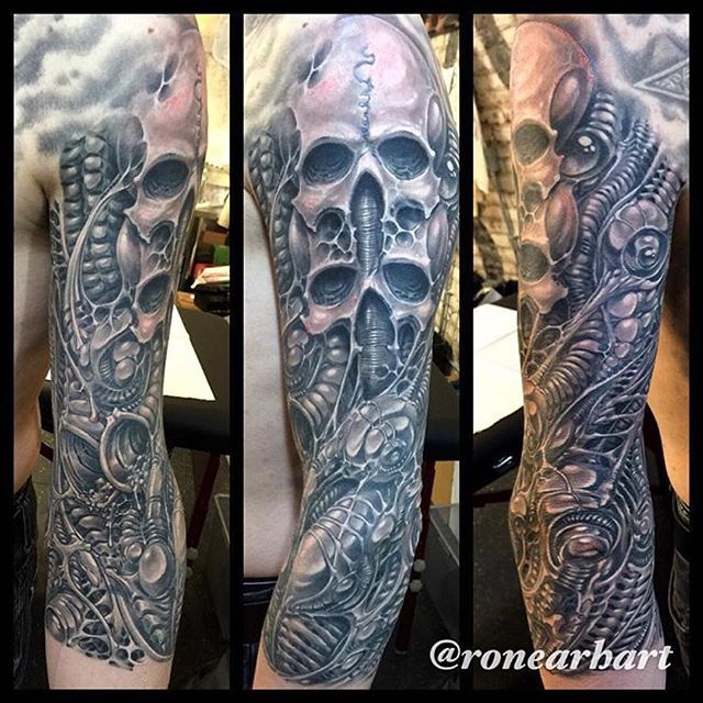 @ronearhart H.R. Giger inspired tattoo using True Tubes and True Grips. @truetubes @truegrips ...