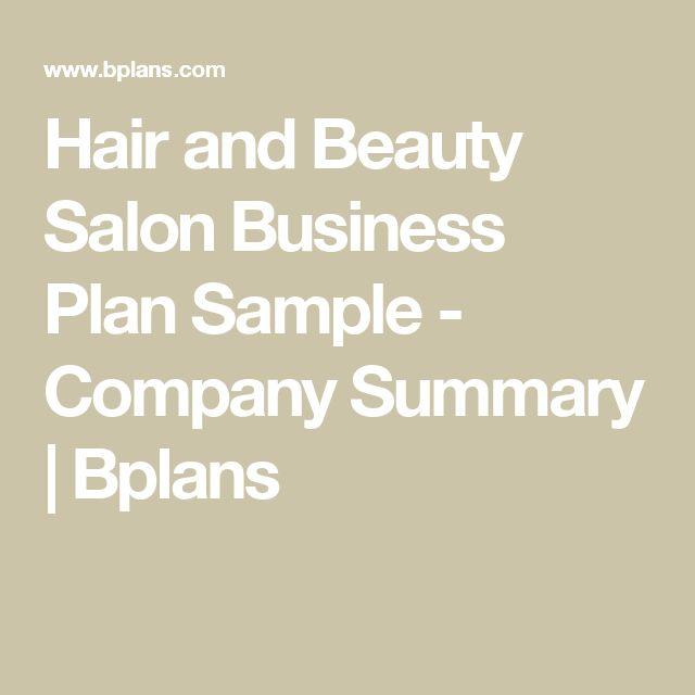 Hair and Beauty Salon Business Plan Sample - Company Summary | Bplans