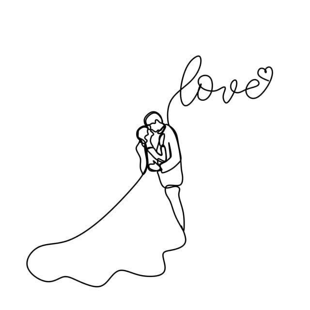 Continuous Line Drawing Of Romantic Couple In Dress Vector Illustration With Love Text Holiday Illustration Romantic Png And Vector With Transparent Backgrou In 2020 Line Drawing Simple Line Drawings Continuous Line Drawing