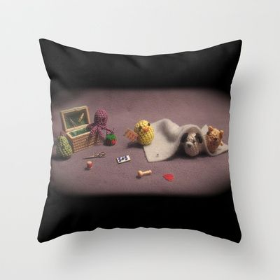 Critter Sewing Time Throw Pillow by Alexandria Gold - $20.00