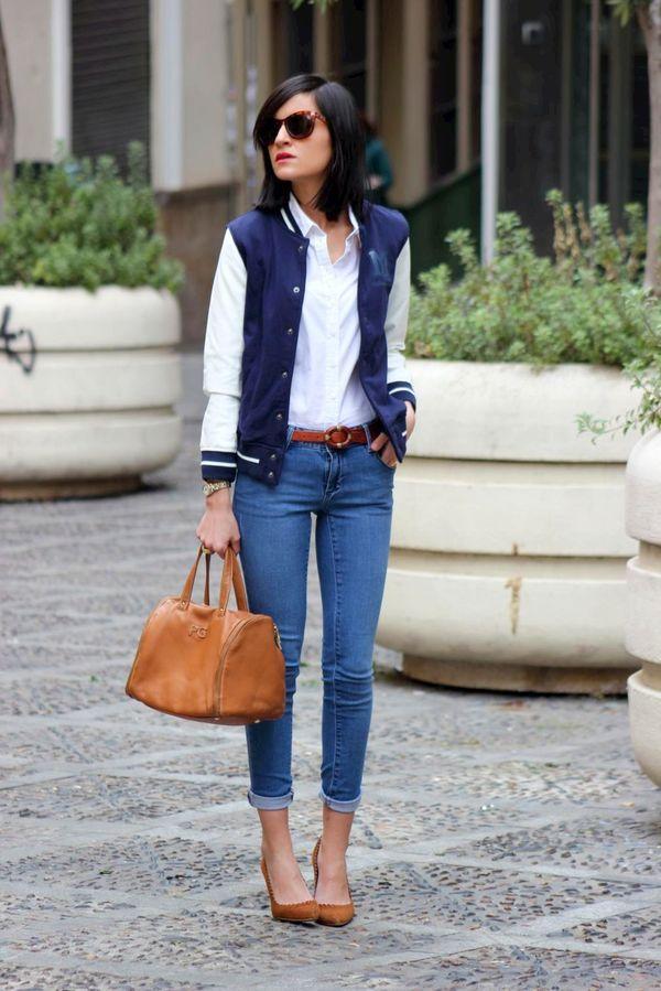 白シャツをスタジャンでカジュルダウン♪ 人気のおすすめスタジャン一覧。レディースファッションまとめ。