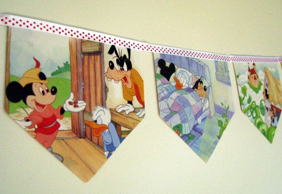 Mickey and the Beanstalk Storybook Paper Bunting by MagpieSailor on Etsy