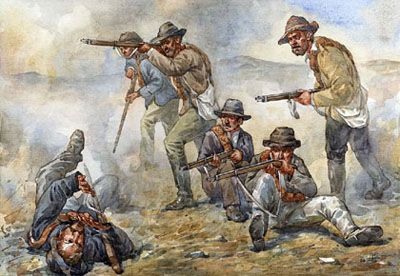 Boers in the rough uniforms worn in the colonial war with the British.