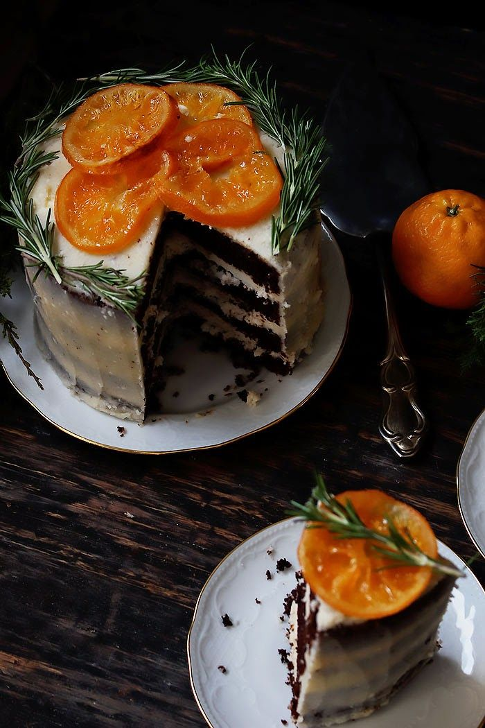 Oatgasm: Chocolate Orange Cake with Rosemary Buttercream and Candied Oranges