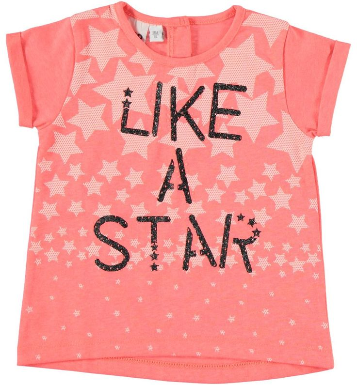 Fluo tone t-shirt with stars and glitter writing, girl, 6 - 36 months, iDO CORALLO FLUO-5824