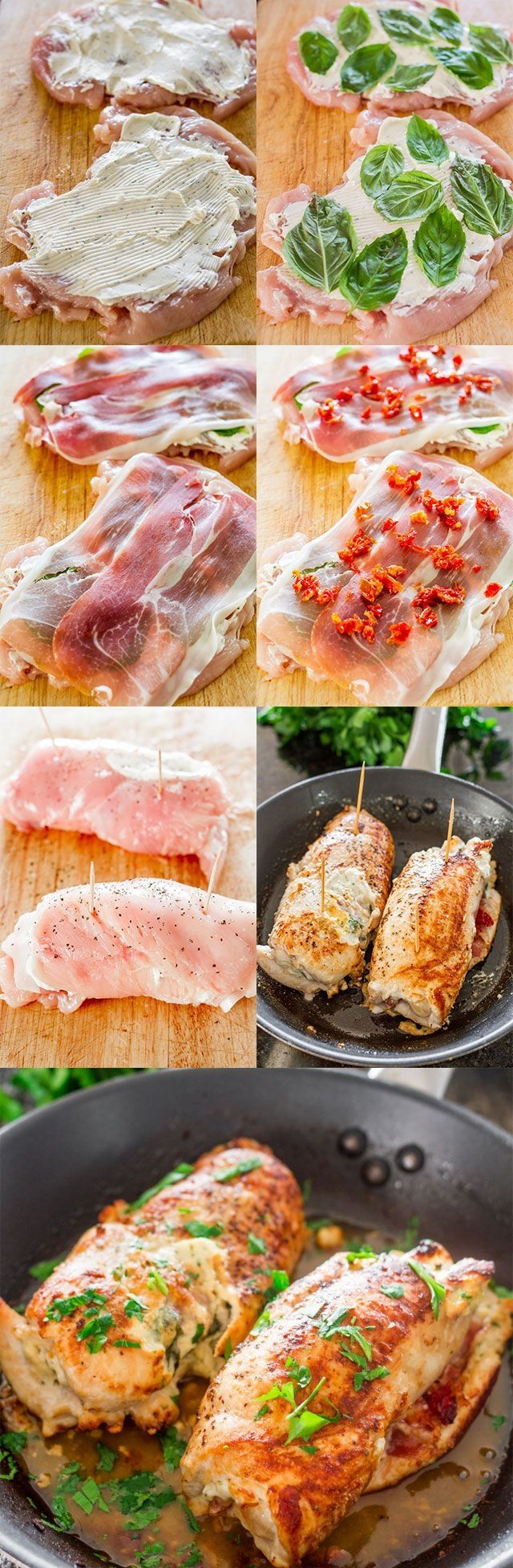 ingredients 2 boneless chicken breast halves ¼ cup spreadable garlic and herb cream cheese 4 thin slices prosciutto 2 tbsp chopped oil packed sun-dried tomatoes 6-12 basil leaves, depending on size 2 tbsp olive oil salt and pepper to taste