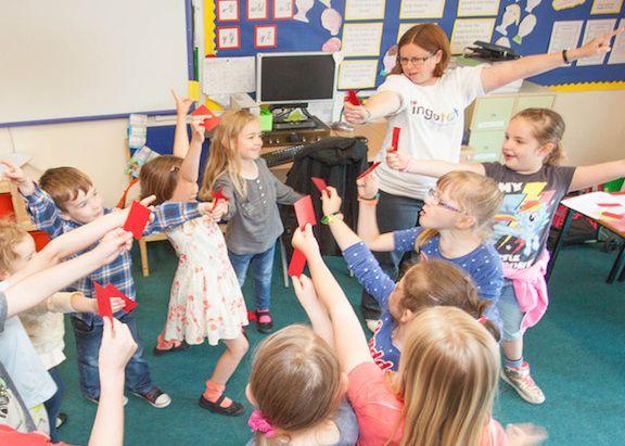 Lisa teaching in a school in Gateshead