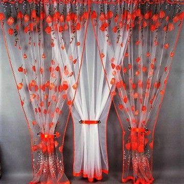 Záclona kusová trojdílná - Oranžové tulipány 400x150 cm, polyester