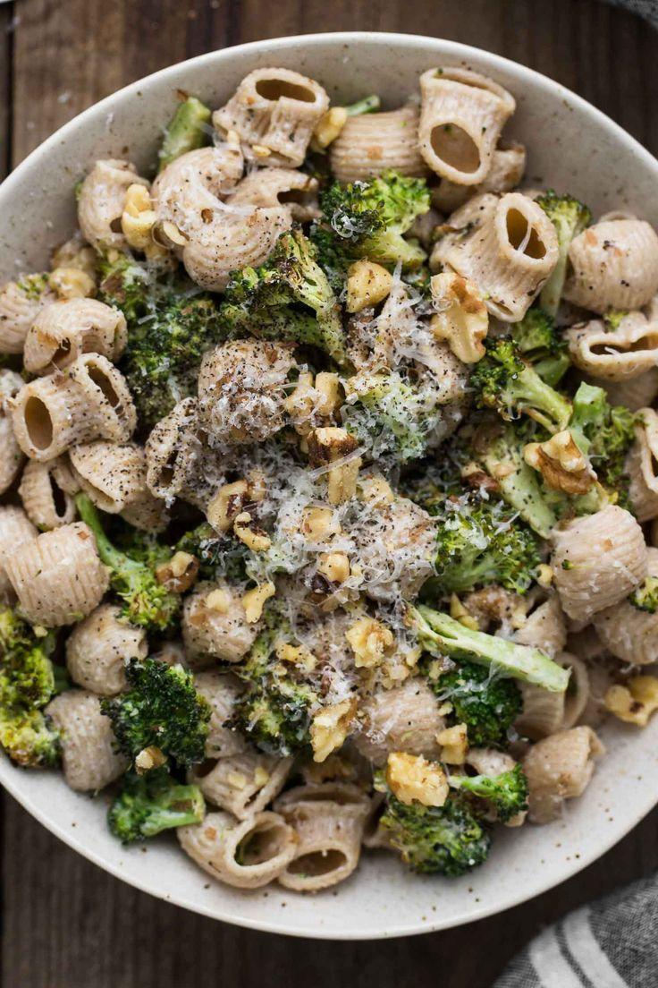 Roasted Broccoli Pasta with Roasted Garlic Goat Cheese Sauce | /naturallyella/