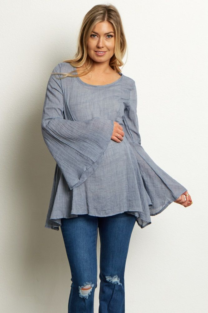 Breezy and beautiful, this flowy bohemian inspired bell sleeve linen maternity blouse is perfect for the transition months ahead. Keep cool while feeling comfortable by pairing this trendy top with a basic maternity skinny jean and booties. For added flare, throw on a long delicate necklace.