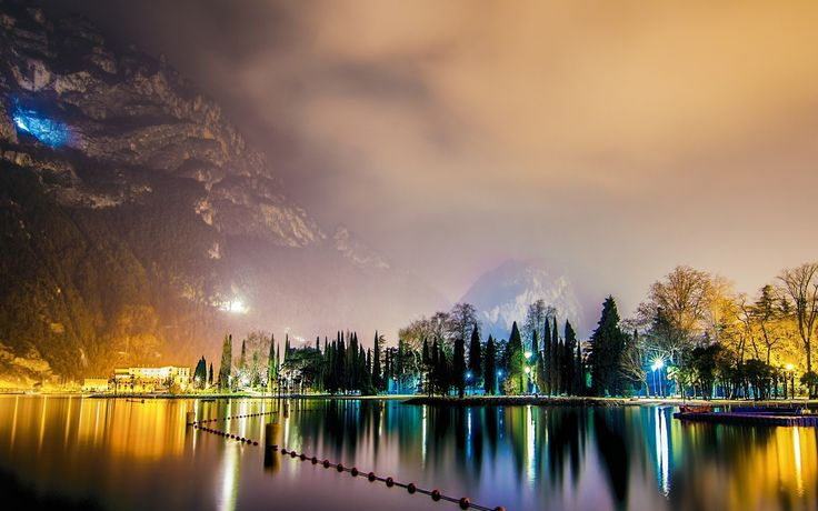 General 1920x1200 landscape nature city lights mist mountains lake Italy reflection night trees water