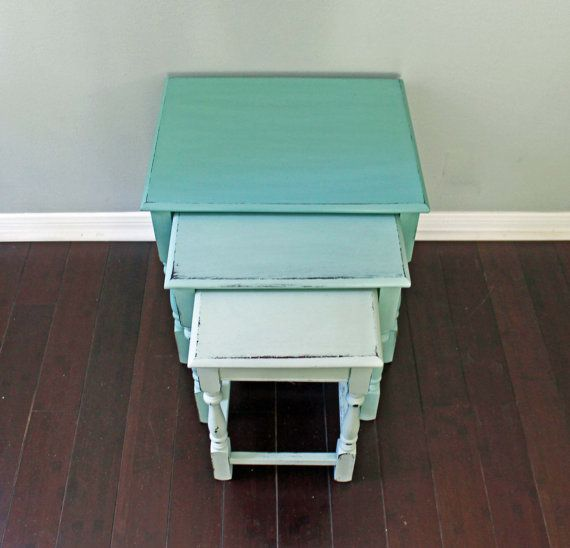 Vintage Beachy Painted Mint Aqua Ombre English Mid Century Farmhouse  Nesting Side Tables Nightstands Houston Texas