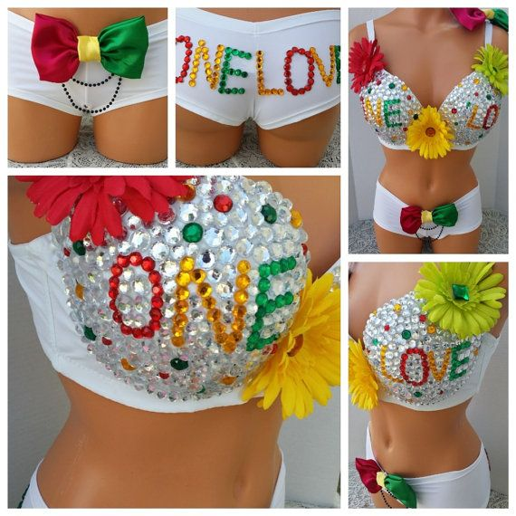 Rasta One Love Rave Bra and Bottoms, Rave Outfit, Outfit for EDC on Etsy, $105.00
