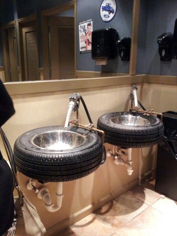 sinks in a restaurant bathroom. beautiful ideas. Home Design Ideas