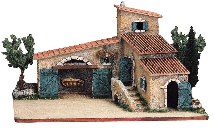 Provencal Farmhouse with Steps and Trees for your nativity figures.  Fits Size #2, Elite (the 2-3/4 inch - 7 cm size) Santons. From Marcel Carbonel, Premiere Santon Makers, Marseille, France.  Available at www.mygrowingtraditions.com