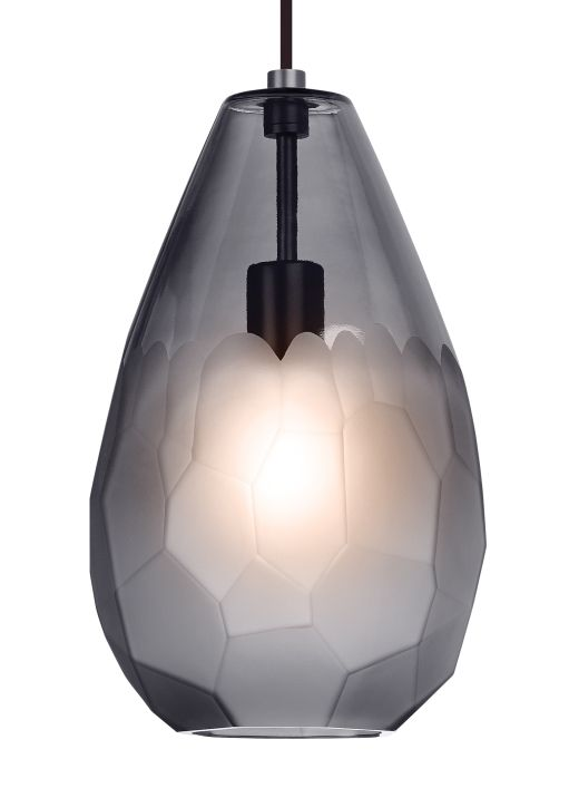 Lbl lighting briolette grande single light wide pendant smoke shade with satin nickel finish indoor lighting pendants