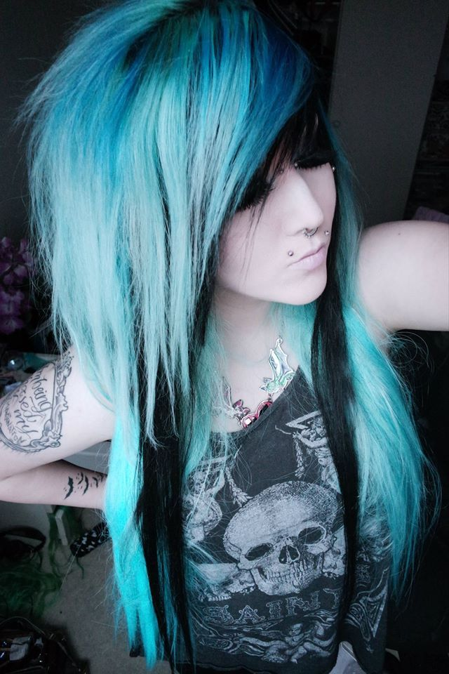 Blue emo scene hair girl