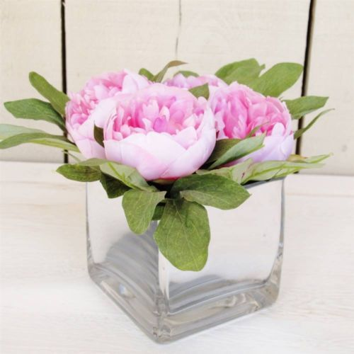 Artificial Flowers Pink Peony Mirrored Cube Vase Arrangement