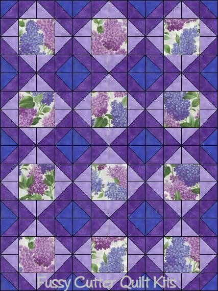 Purple Lilac Flowers Spring Floral Shabby Chic Fabric Easy Pre-Cut Quilt Blocks Top Quilting Squares Kit