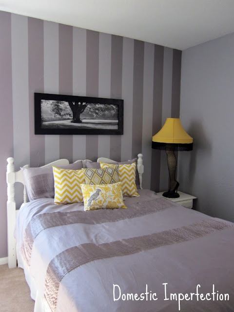 gray comforter and yellow accent pillows or white comforter with gray
