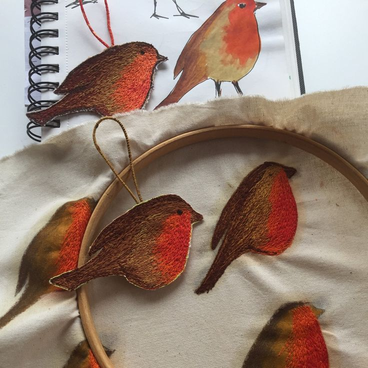 Sketching, stitching and finishing my hanging robins.