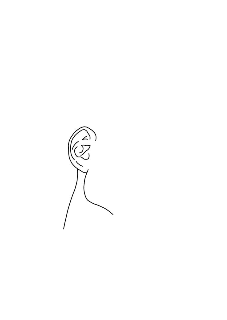 Minimalist Line Art : Minimal line drawing of male model s ear and jawline