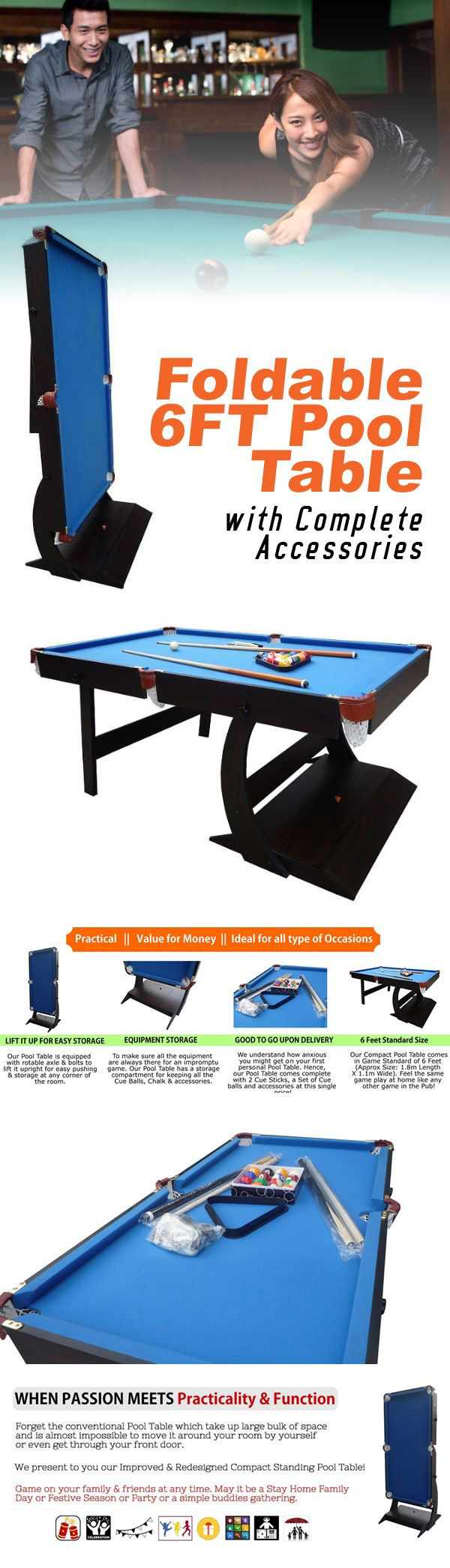 Foldable 6 Feet Pool Table with Complete Accessories + Free Delivery. Feel the Same Game Play at Home Like Any Other Game in the Pub! | All Deals Asia