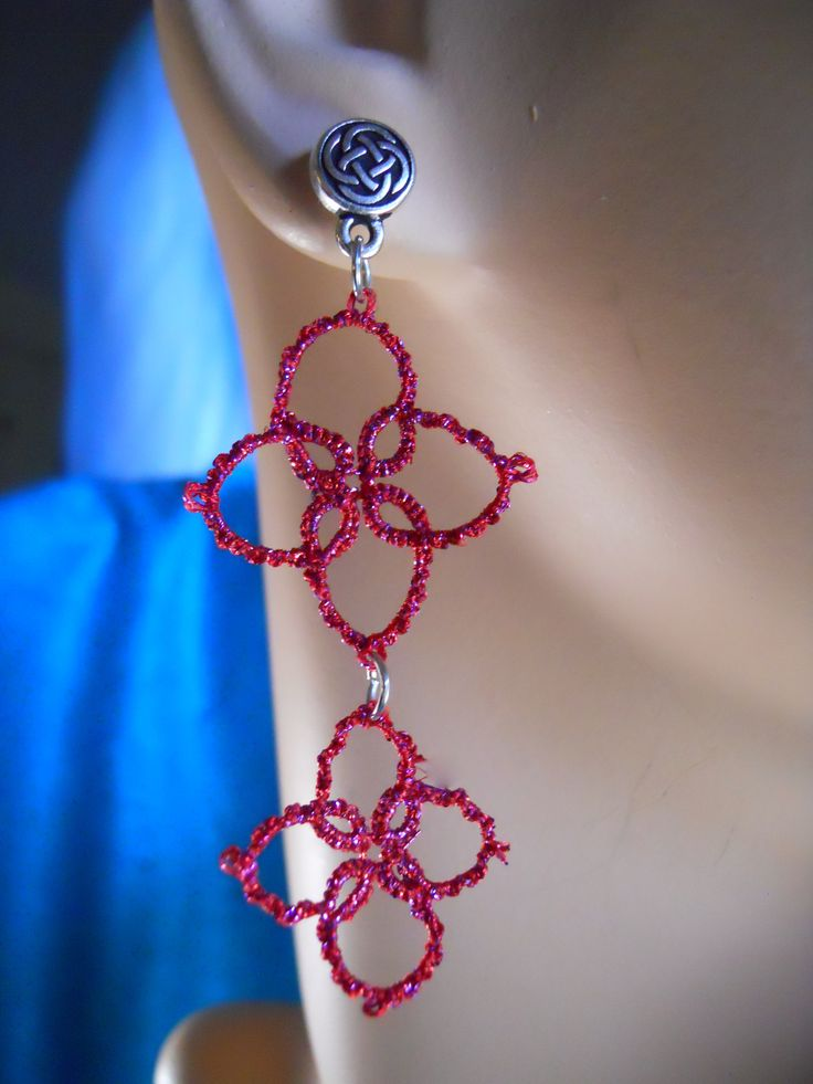 Sparkling pink drop earrins with celtic posts by Mummyearth Designs