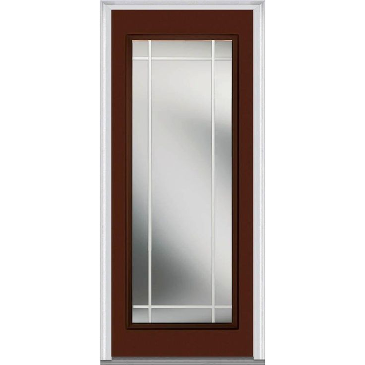 Milliken Millwork 30 in. x 80 in. Classic Clear Glass PIM Full Lite Painted Fiberglass Smooth Prehung Front Door, Redwood