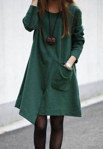 Amazon.co.jp: Aライン シンプル 裾ランダム ワンピース 黒 グリーン オレンジ 長袖 レディース ペンダント セット M L XL 大きいサイズ: 服&ファッション小物