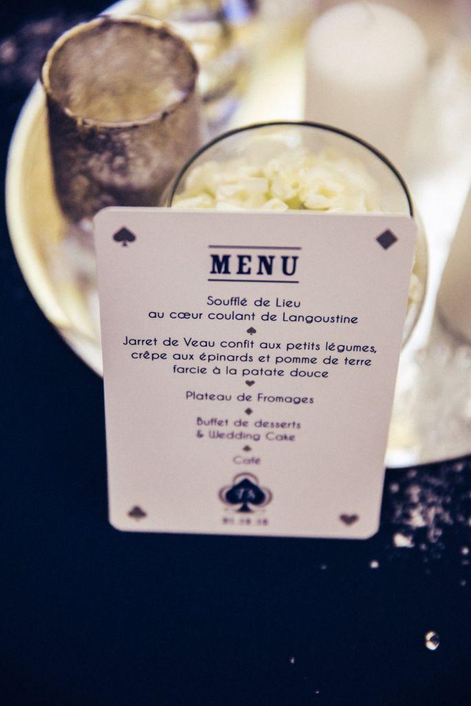 menu amriage thème las vegas carte à jouer - pastilles et petits pois                                                                                                                                                                                 Plus