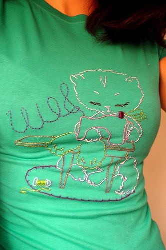 sewing cat shirt complete! | I'm quite proud of sewing cat, … | Flickr