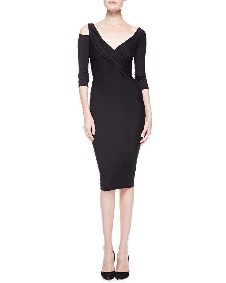 Donna Karan: 3/4-Sleeve Cold-Shoulder Twist Dress, Black from Bergdorf Goodman