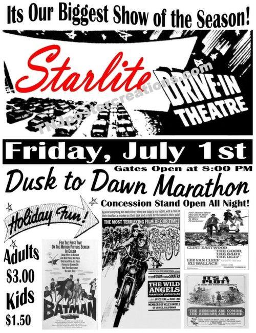 1966 Drive In Movie Theatre Poster Starlite Drive In Dusk