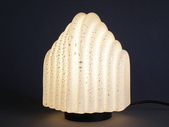 1980s Design Table Lamp Glass Metal Socket by ModernistMoon