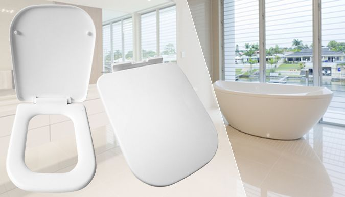 Luxury Square Soft-Close Toilet Seat Upgrade your bathroom throne with a Luxury Square Soft-Close Toilet Seat      Made using heavy-duty scratch resistant resin material      Soft-close, one-button-push and quick-release mechanism      Polished surface provides a high-shine      Adjustable hinges make it easy to install in any loo      Anti static and dust-repellent - no nasty shocks      Save...