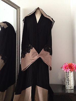 Unique style Black Nida open Abaya Dubai Jalabiya Khaleeji Kaftan dress size 56