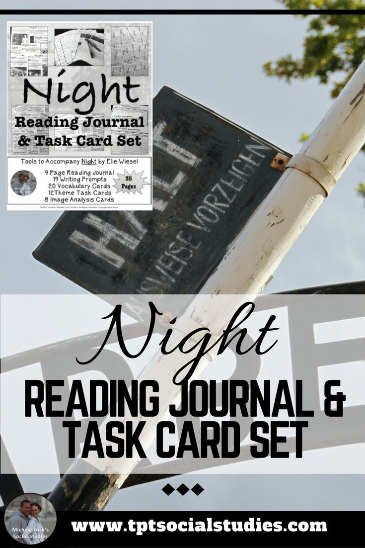 Use this Night by Elie Wiesel Reading Journal and Task Card Activity Set to help students process and analyze the incredible text on the German Holocaust during WWII.  Examine Night by Elie Wiesel with this interactive unit set. Read for  content, respond to writing prompts for student engagement, and review  key features with various task card sets and the student journal. Click to see more detail.