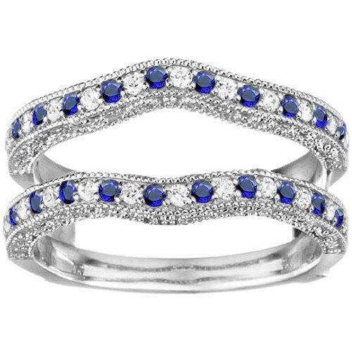 Gorgeous Vintage .26ct Genuine Sapphire and Diamond Contour
